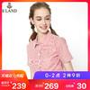 ELAND衣恋18夏季新款刺绣学生显瘦竖条纹短袖衬衫女EEYS86403I