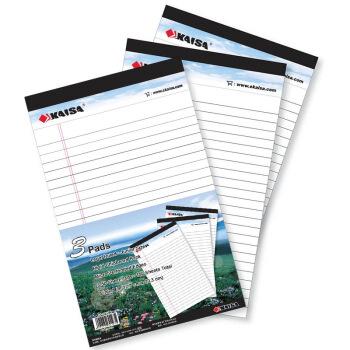 凯萨(KAISA)拍纸本Legalpad美式笔记本 50张A5 (127*203mm) 3本装 KS-01971