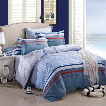 胜伟 棉质斜纹四件套 1.5米床/1.8米床 流金岁月 蓝