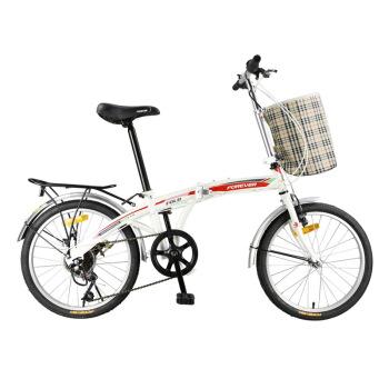 永久自行车 20寸7速高碳钢弓背车架 时尚休闲折叠车 男女式通勤车 学生变速单车 白红色