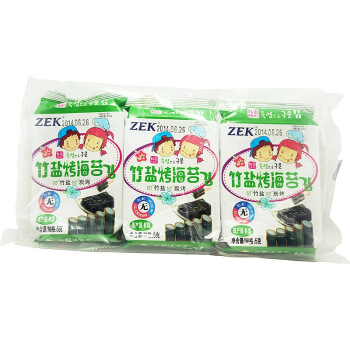 韓國進口 ZEK 兒童海苔紫菜 竹鹽5g*3包休閑進口兒童即食海味零食