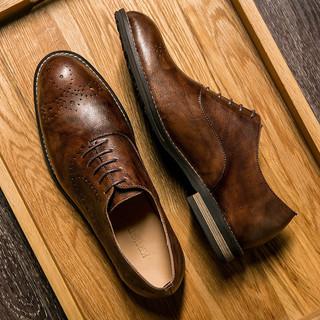 KRUSDAN 克鲁斯迪恩 5007-16 男士英伦风休闲皮鞋 咖啡色 40