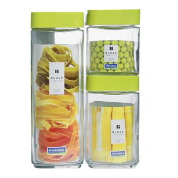 Glasslock韩国进口方形玻璃储物罐收纳罐密封罐礼盒三件套( 1300ml+700ml+500ml)/IG589绿色