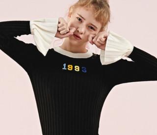 LE'TEEN 乐町 C4EE74201 喇叭袖针织毛衣