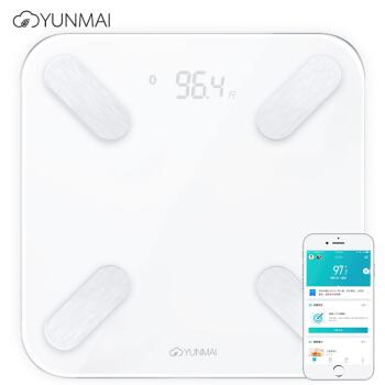 云麦好轻mini2S白色充电款智能体脂秤 体重秤 电子秤 家用减肥健康秤脂肪秤 测29项人体数据 蓝牙连接APP控制