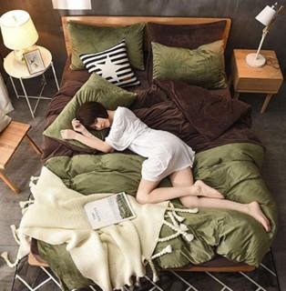 J.H.Longess 加密保暖水晶绒素色两拼床单四件套 两拼绿1.5-1.8米床