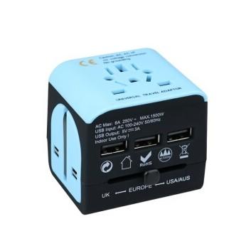 wonplug 万浦 LE-07 转换插头插座 蓝黑色带3USB