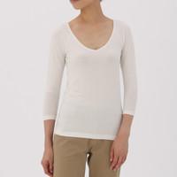 MUJI 无印良品 H7AD240 女式棉混保暖V领八分袖衫