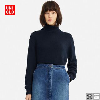 UNIQLO 优衣库 413498 女士混纺两翻针织衫 (水粉色、S)