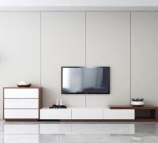 古宜 G107电视柜茶几组合 (电视柜+钢化玻璃茶几胡桃木色)