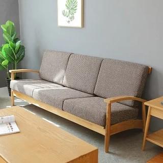恒兴达 白橡木全实木布艺沙发 三人位