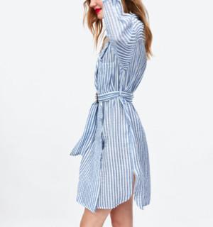 ZARA 07901224044 条纹衬衫款式连衣裙