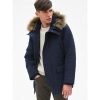 Gap男装中长款大衣加厚棉服308611 仿毛领工装保暖外套 *3件