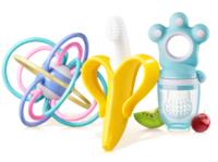 紐因貝 牙膠玩具三件套(手抓球 牙刷 藍色咬咬樂)