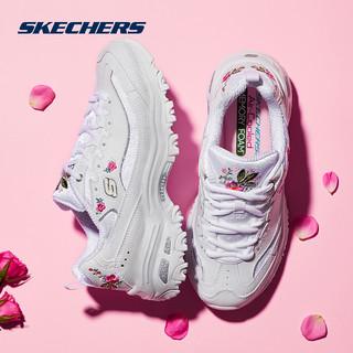 Skechers斯凯奇女鞋D'lites复古绣花熊猫鞋 小白鞋老爹鞋女11977 (黑色、35)