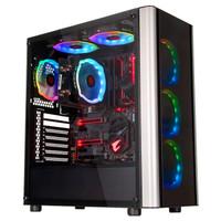 Tt(Thermaltake)啟航者L20 黑色 機箱水冷電腦主機(4*RGB風扇/2*鋼化玻璃/兼容ATX/獨立電源倉/U3)