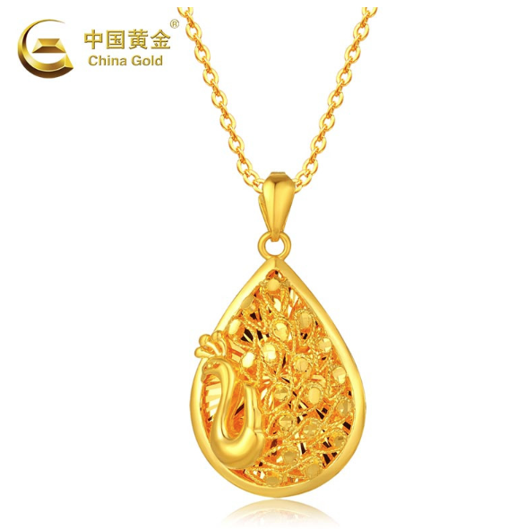 China Gold 中国黄金 孔雀开屏 花丝足金吊坠 6.23g