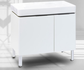 KOHLER 科勒 K45764+2746 直角白柜+单孔台盆+4支脚 希尔维浴室柜组合