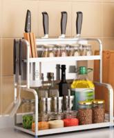 四季沐歌304不锈钢厨房置物架落地式多层刀架调味调料架子收纳盒