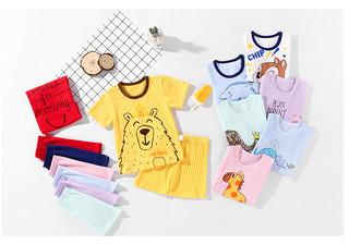 蓝粉象 儿童夏季短袖套装