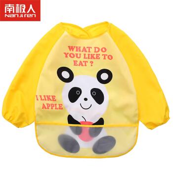 南极人(Nanjiren)宝宝吃饭罩衣婴儿围兜卡通儿童防水画画反穿衣 黄色熊猫 适合0-3岁