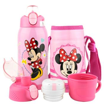 迪士尼三杯盖婴儿童316保温吸管杯 宝宝不锈钢喝水杯防漏防摔学饮杯保温壶 含杯套 四用 600ML米妮
