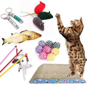 迪普爾 寵物貓玩具小老鼠玩具幼貓成貓互動逗貓棒貓抓板薄荷激光逗貓棒劍麻球魚繩 貓咪玩具套裝6件套