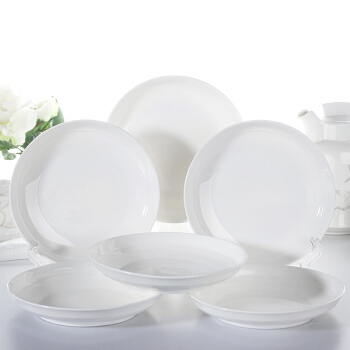洁雅杰陶瓷餐具套装陶瓷盘子 陶瓷汤盘(8英寸)纯白深饭盘 6只装