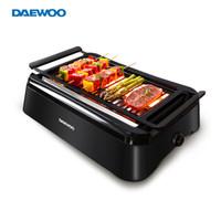 大宇(DAEWOO)電燒烤爐家用電烤爐無煙燒烤多功能電烤盤 韓式烤肉機 適合3-5人 SK1黑色