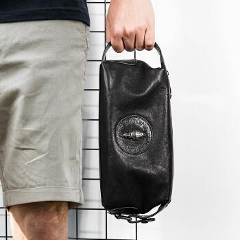 帕宾(pabin)男士手包男包潮版植揉头层牛皮手抓包个性休闲信封包大容量手拿包PB335AS黑色