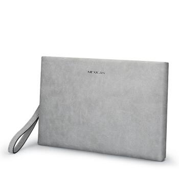 稻草人(MEXICAN)男士手包 信封包商务简约多功能大容量男款钱包单拉手拿包男MMHD02180931浅灰色