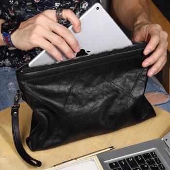 帕宾pabin 头层植糅牛皮男士手包时尚休闲手拿信封包大容量手抓包ipad包PB359AM黑色