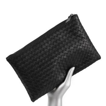 帕宾pabin 男士手包头层胎牛皮编织手拿包横款时尚手抓包大容量多功能信封包PB3416黑色