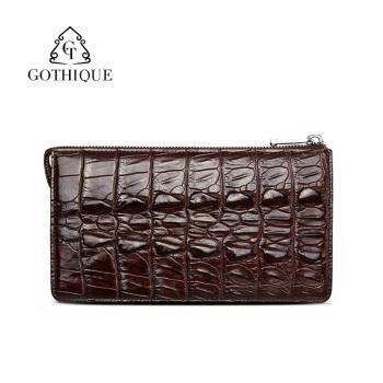 哥特(Gothique)鱷魚皮手包男長款商務錢包拉鏈多卡位錢包GT6009棕色雙尾鰭版(小)