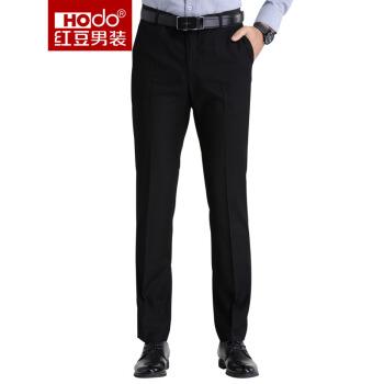 红豆 Hodo男装商务休闲男士正装西裤 黑色34