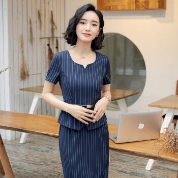 初申 2019夏季新款短袖连衣裙女韩版修身条纹职业套裙SWQZ185102蓝色XL