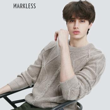 Markless 加厚羊毛针织衫男士青年休闲套头圆领毛衣MSA7709M 米杏色 170/M