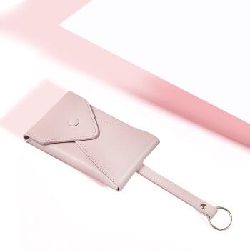 帕迪欧( PADIEOE)个性创意钥匙包女多功能汽车锁匙包可爱零钱牛皮包真皮卡包QB170653-2 粉色