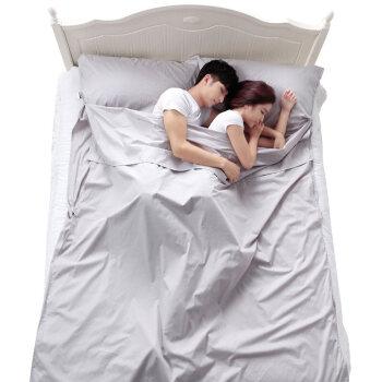 加加林 JAJALIN 旅行酒店隔脏睡袋成人室内出差单人双人便携式薄旅游防脏床单 银灰色180*210cm