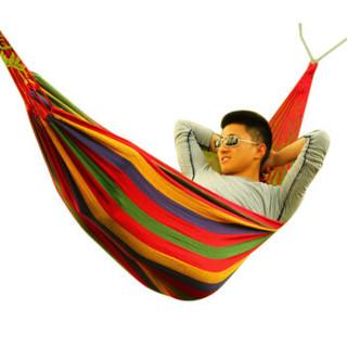 京东PLUS会员 : 狼行者  户外野营绑绳帆布吊床 室内宿舍单人休闲秋千寝室吊床