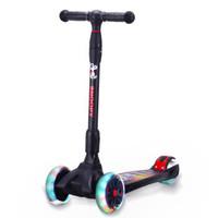 史努比SNOOPY 滑板車兒童2-12歲閃光可折疊升降四輪滑滑車 黑色ET702 *2件