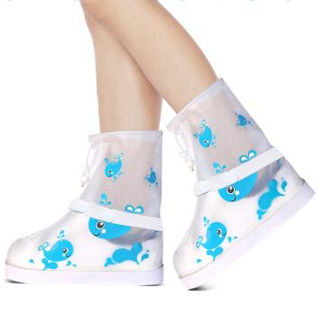 驰动 儿童雨鞋套 平底雨靴男女童防滑加厚耐磨雨鞋套 鲸鱼白M码