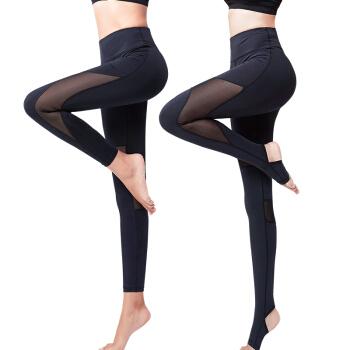 范迪慕 运动裤女踩脚长裤网纱拼接休闲运动小脚瑜伽健身裤显瘦弹力紧身裤 FDM1801-黑色-单件踩脚长裤-XL