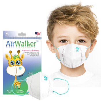 鲜行者 Airwalker 美国进口滤材儿童口罩薄款 2.5-5岁(倍护型) 防雾霾防尘花粉柳絮 耳带式 6只装