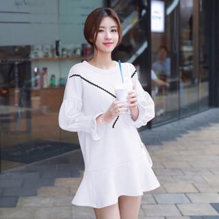 LAXJOY 朗悦  新款韩版喇叭袖连衣裙简约荷叶边裙子 LWQZ180134 白色 M