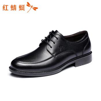 红蜻蜓 RED DRAGONFLY 时尚系带商务圆头休闲鞋 正装皮鞋男  WTA57121 黑色 42