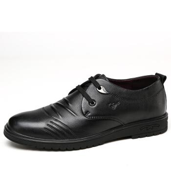 七匹狼(SEPTWOLVES)商务休闲鞋男士皮鞋英伦时尚系带休闲皮鞋男鞋子8373335106黑色41