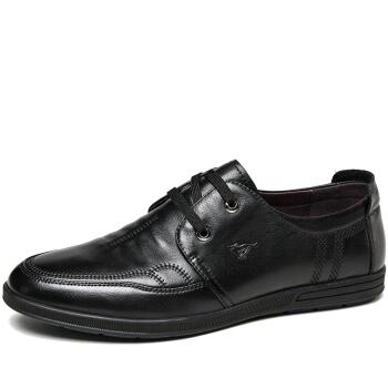 七匹狼(SEPTWOLVES)商务休闲鞋男士舒适英伦低帮鞋圆头系带皮鞋8373495201黑色40
