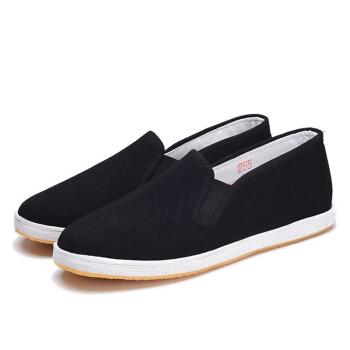 维致 老北京布鞋传统手工千层底 一脚蹬懒人休闲男士低帮牛筋底 WZ1006 黑色 42