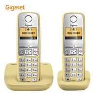 集怡嘉原西門子電話機C510套裝德國進口 大按鍵屏幕背光 子母機座機一拖一(富貴黃)